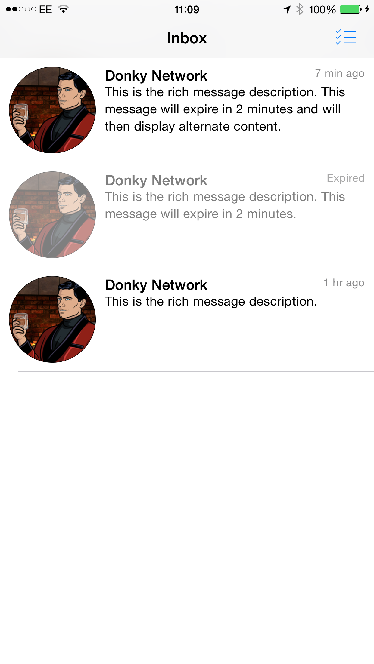 Example of what an expired message will look like. Device is iPhone 6, iOS 8.4 in Portrait.