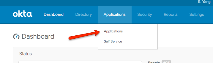 Okta Applications Drop Down Menu