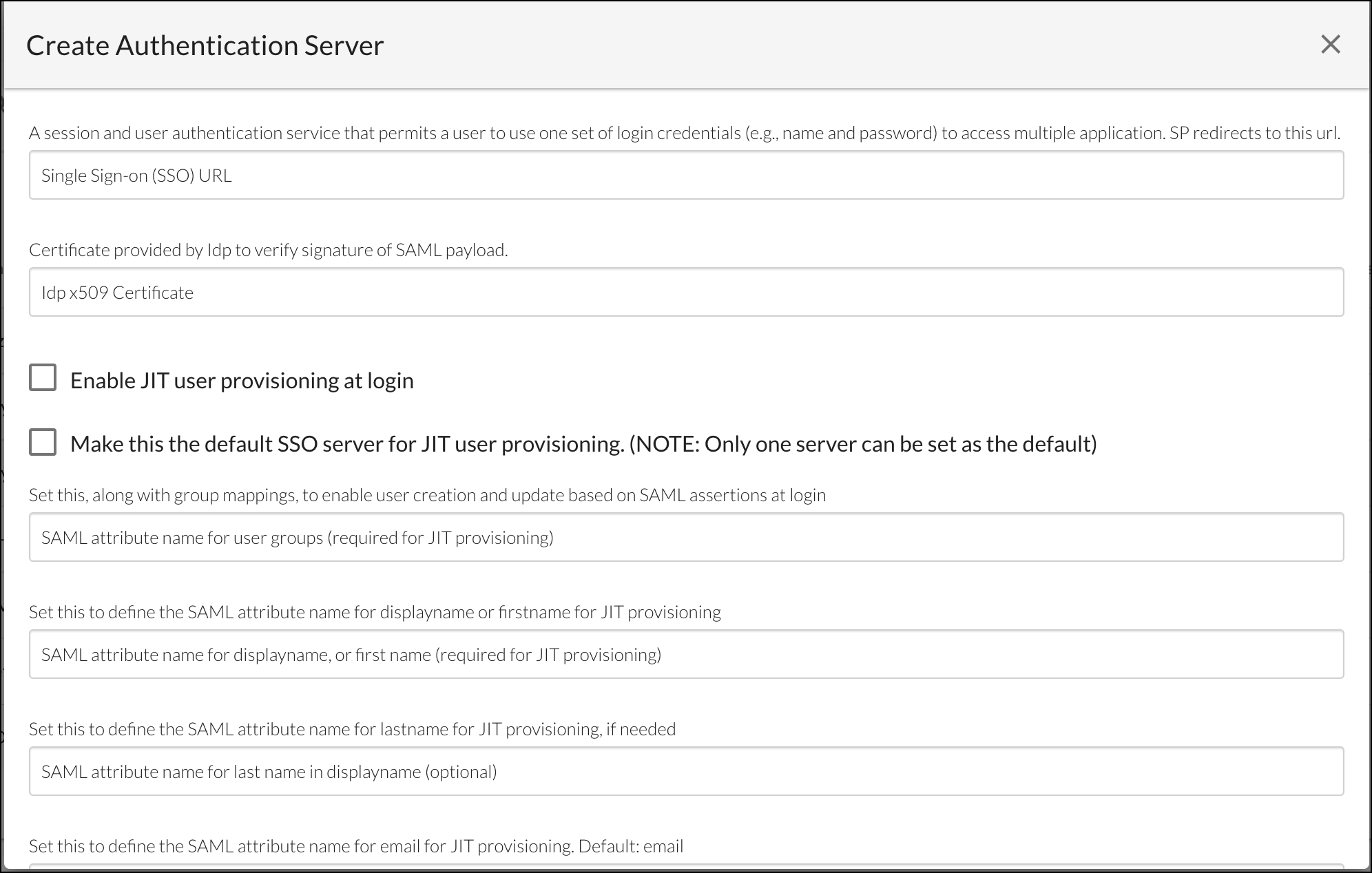 Example InsightCloudSec SAML Authentication Form