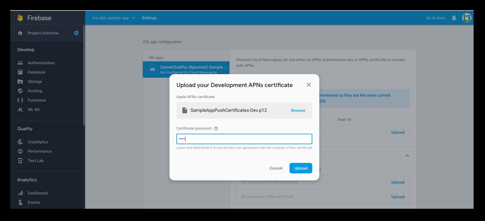 Add APNS Certificate