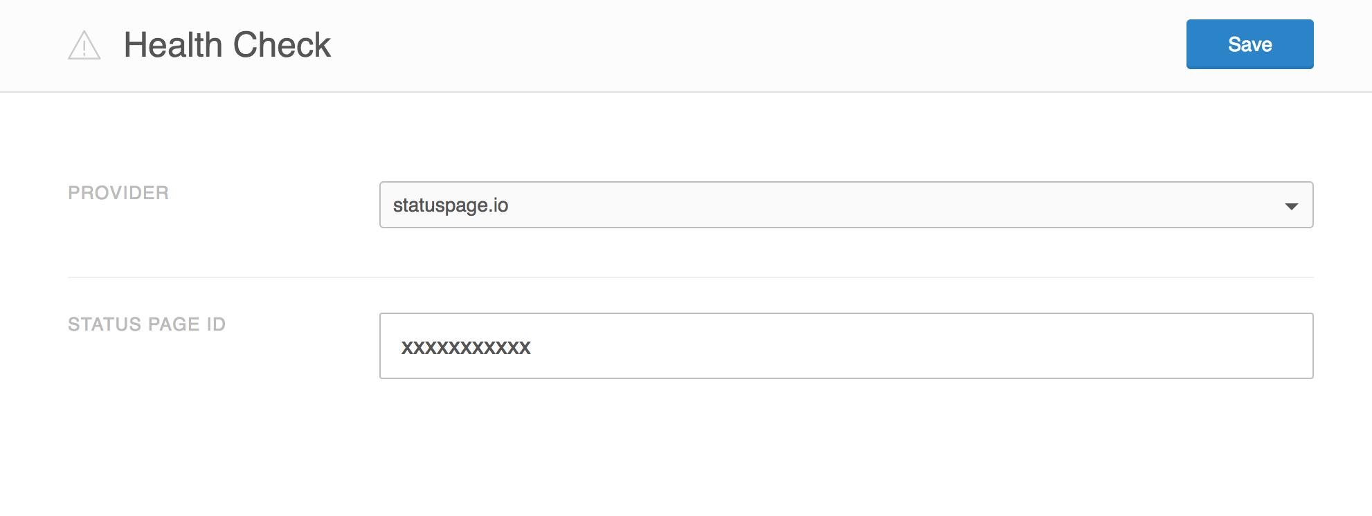 Screenshot showing statuspage.io health check provider.