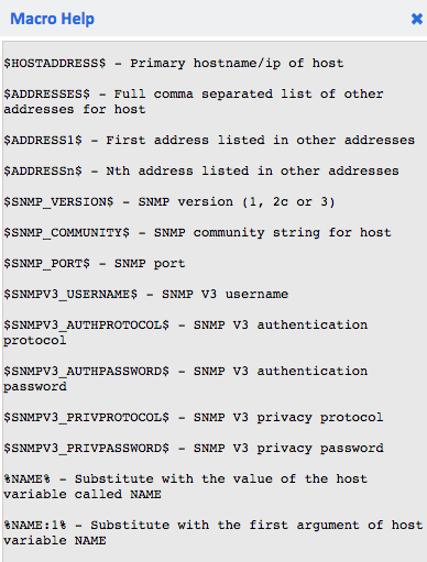 Example macro help output