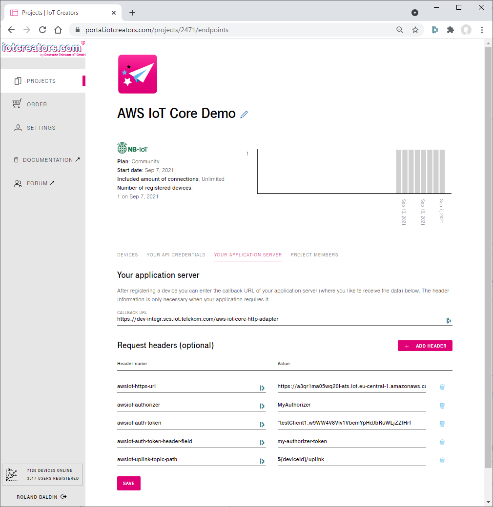 Configuration of the AWS IoT Core integration in the Application section of IoT Creators project.