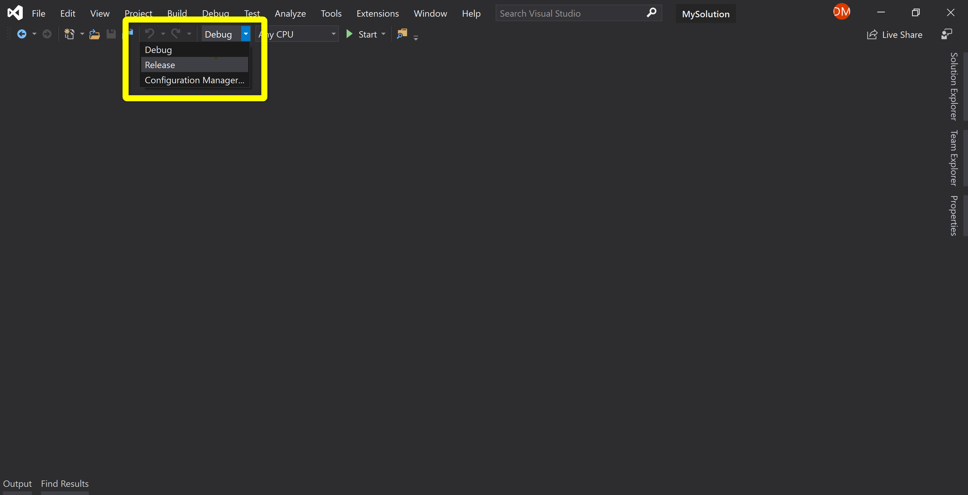 Visual Studio's configuration can be changed from the Standard toolbar.