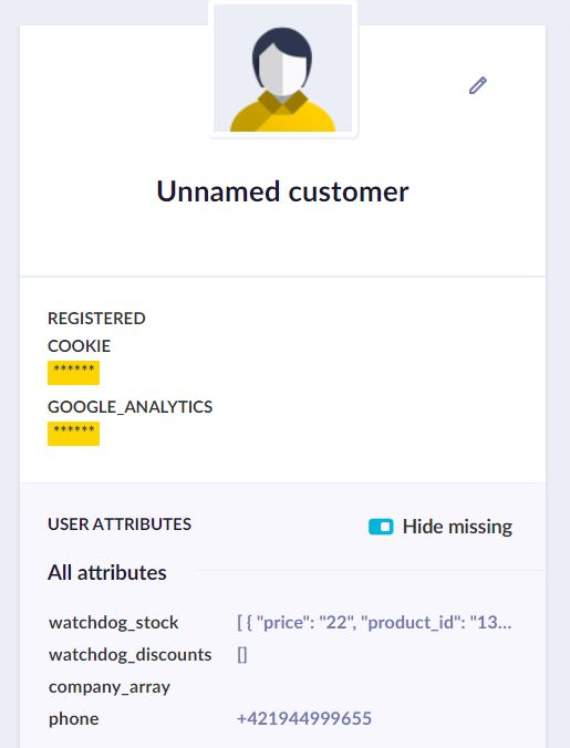 PII view in the customer profile