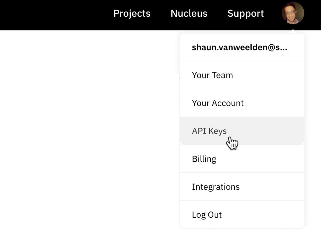 Get API Key from Customer Dashboard