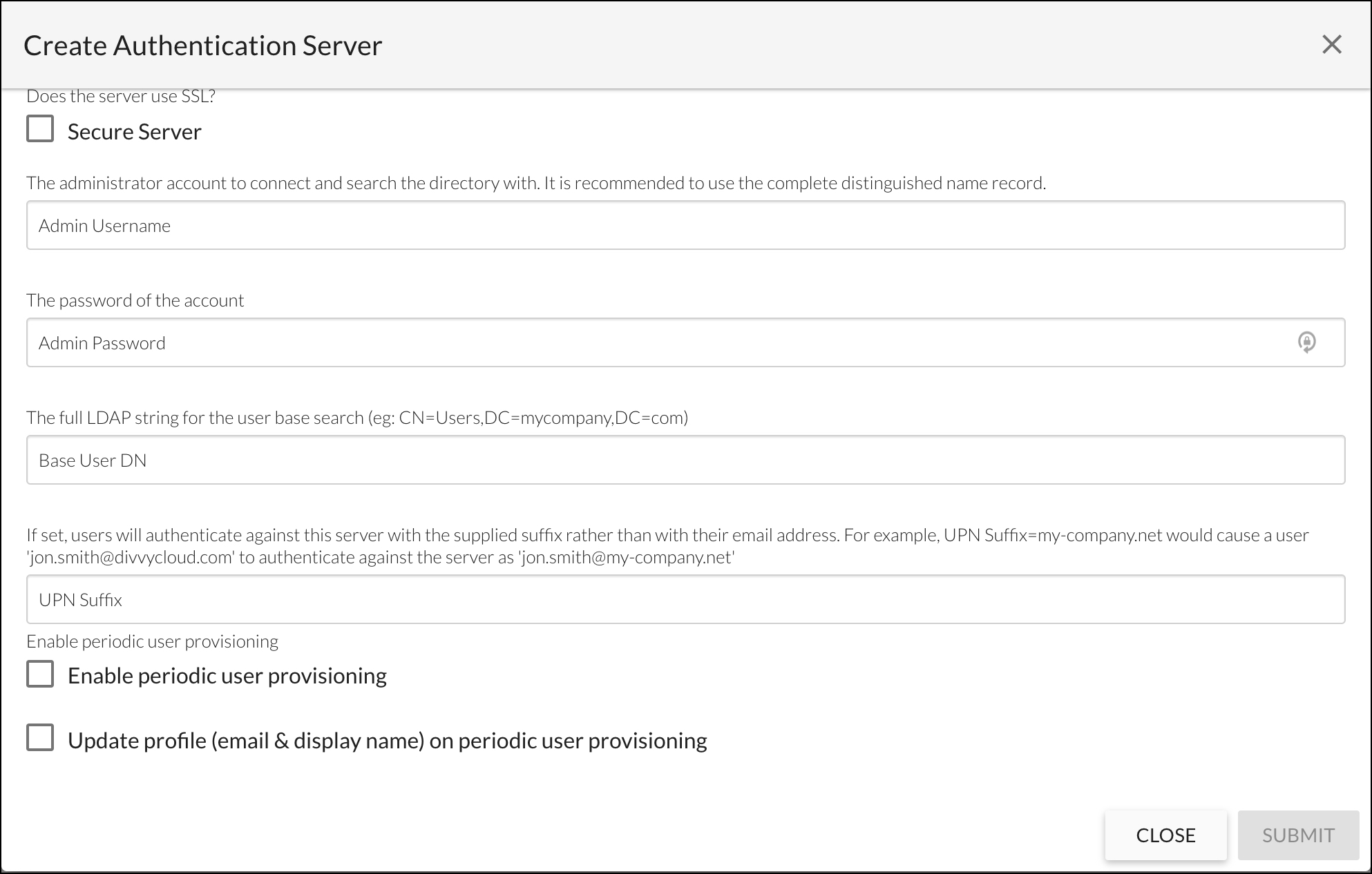 Create Authentication Server - Active Directory Example Continued