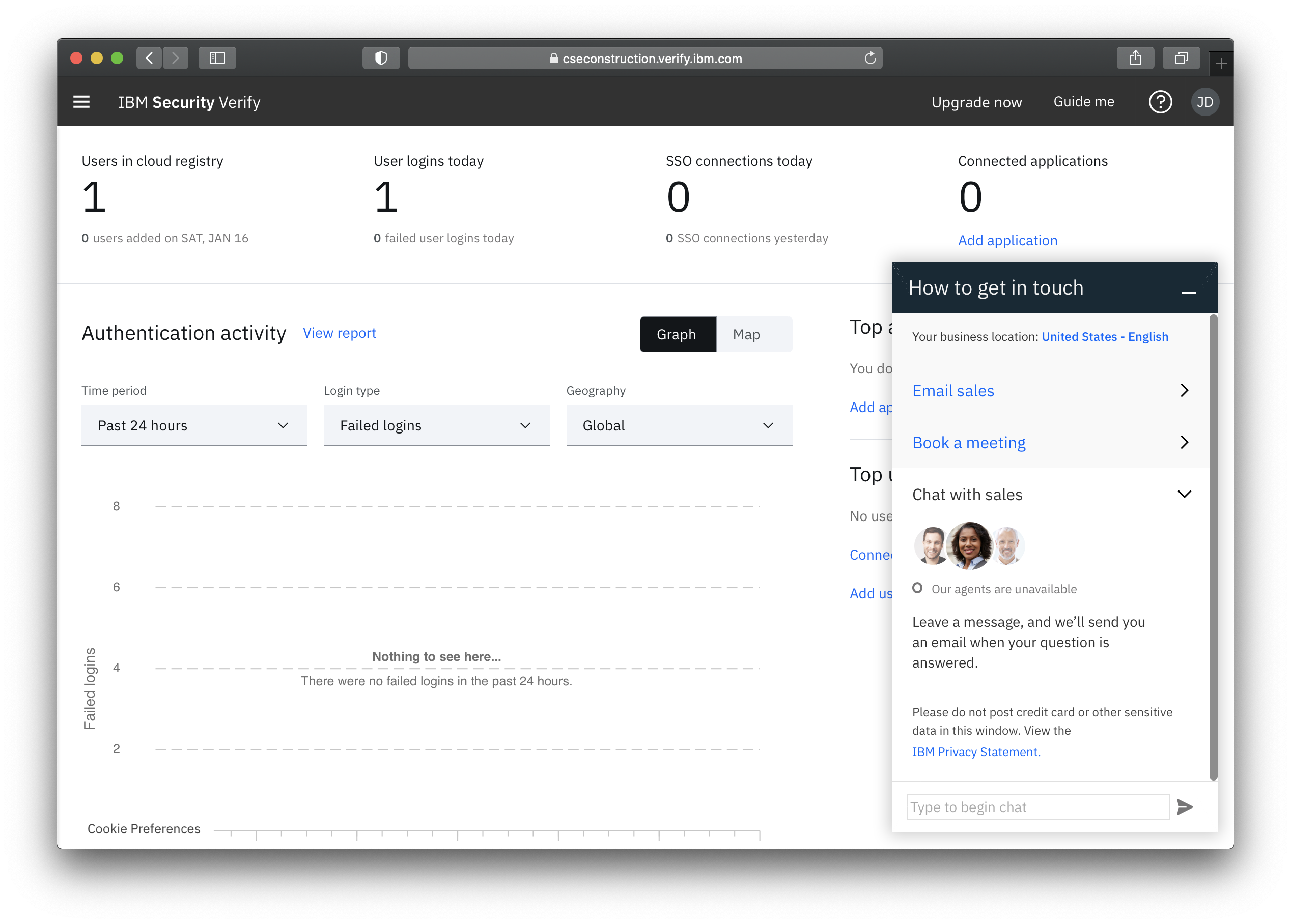 In-app live chat with IBM Security experts