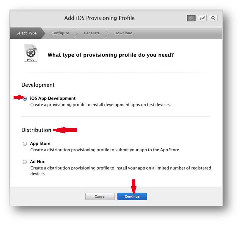 Continue creating the provisioning file