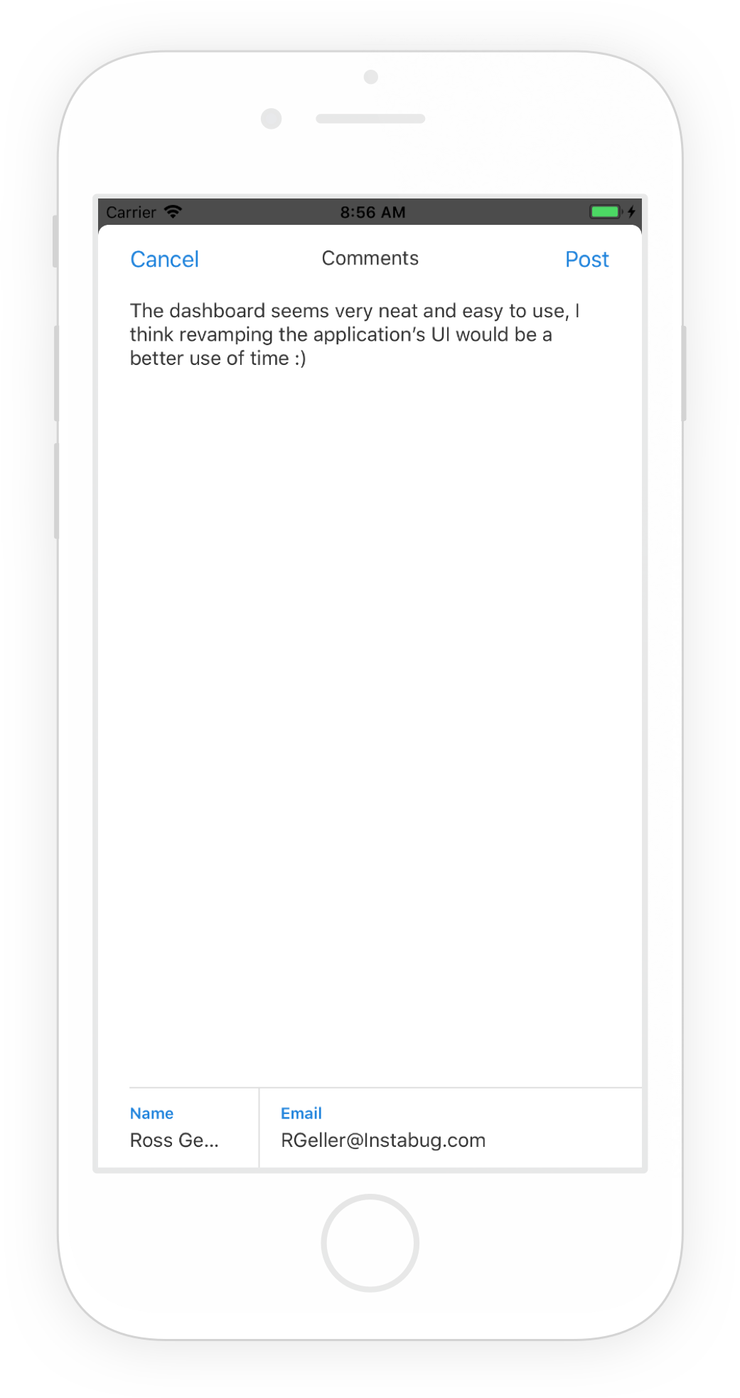 This is what the in-app feature request comment submission form looks like.