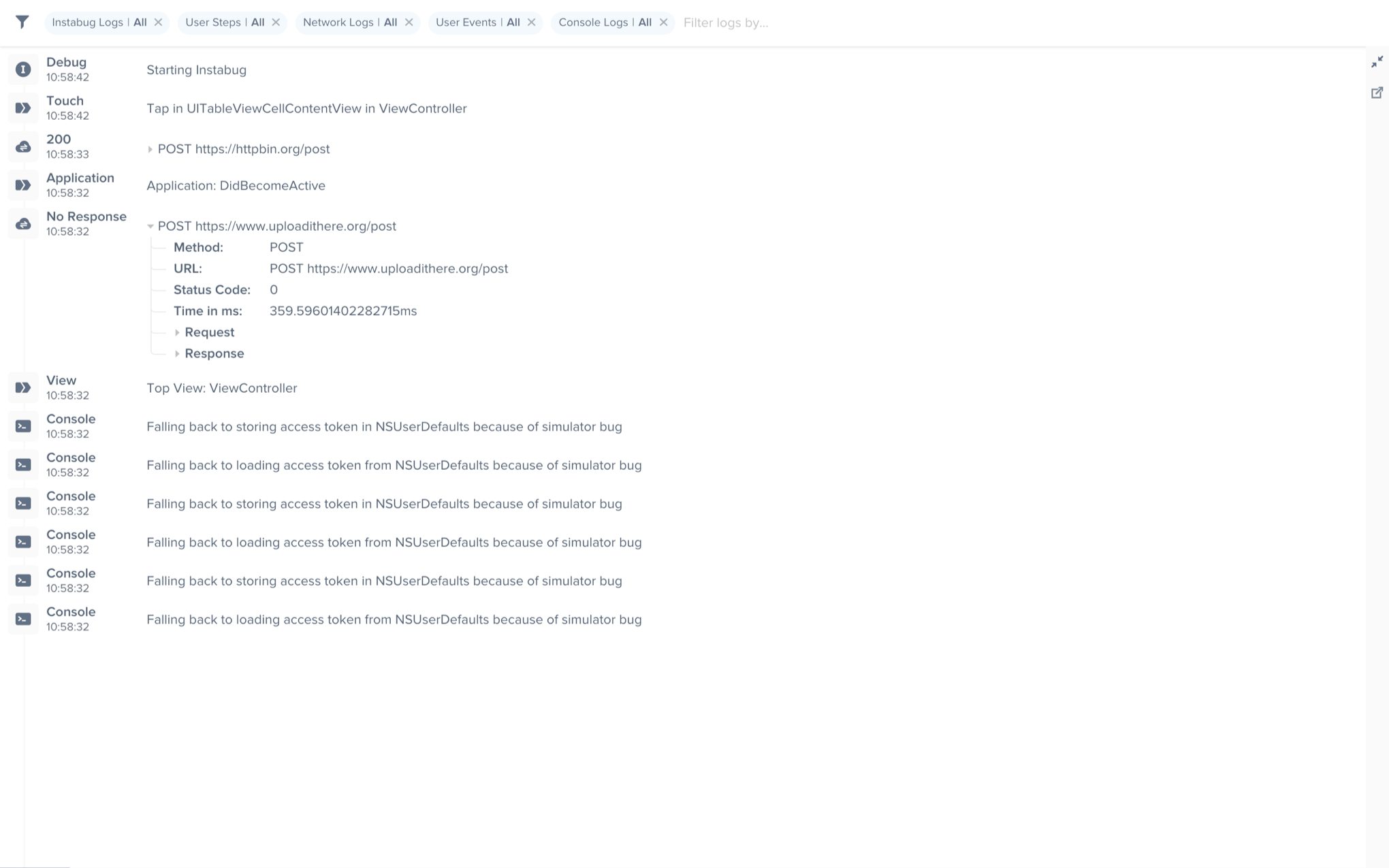 An example of the expanded logs view from your dashboard.