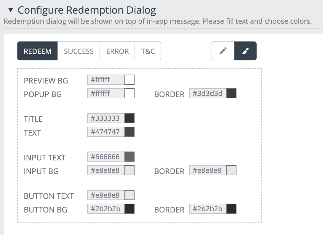 The example shows the customisation options for the Redeem screen.
