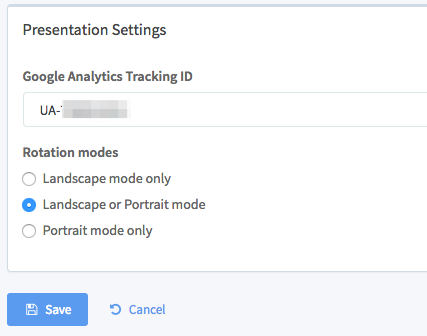 Edit your presentation in the admin portal.  Set the Tracking ID.