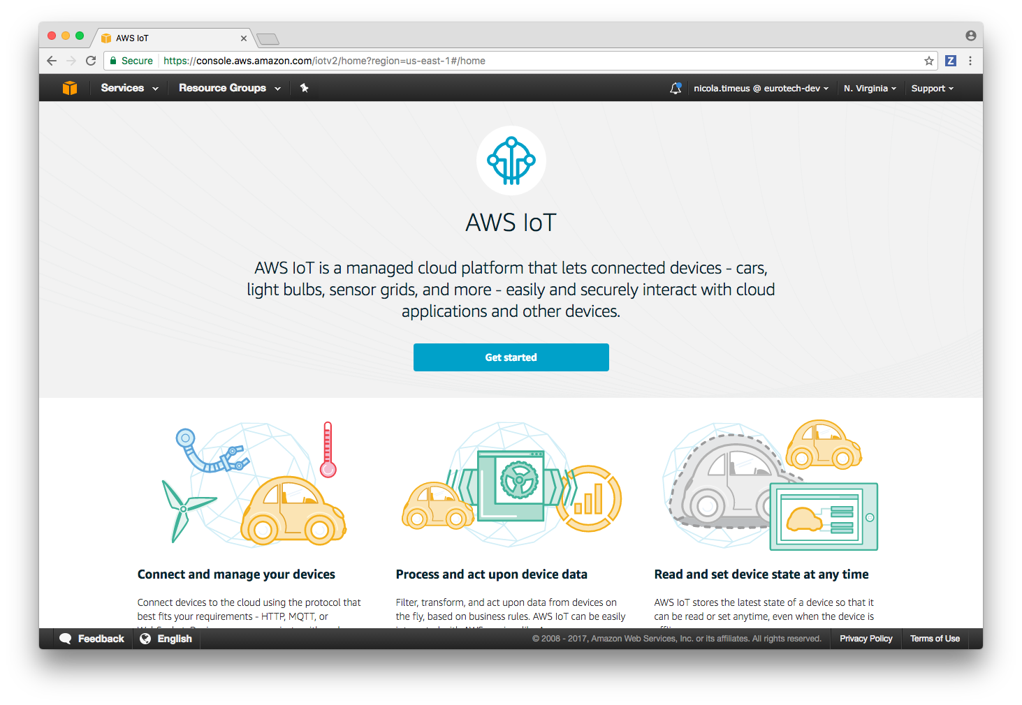 aws iot connection everyware software framework esf