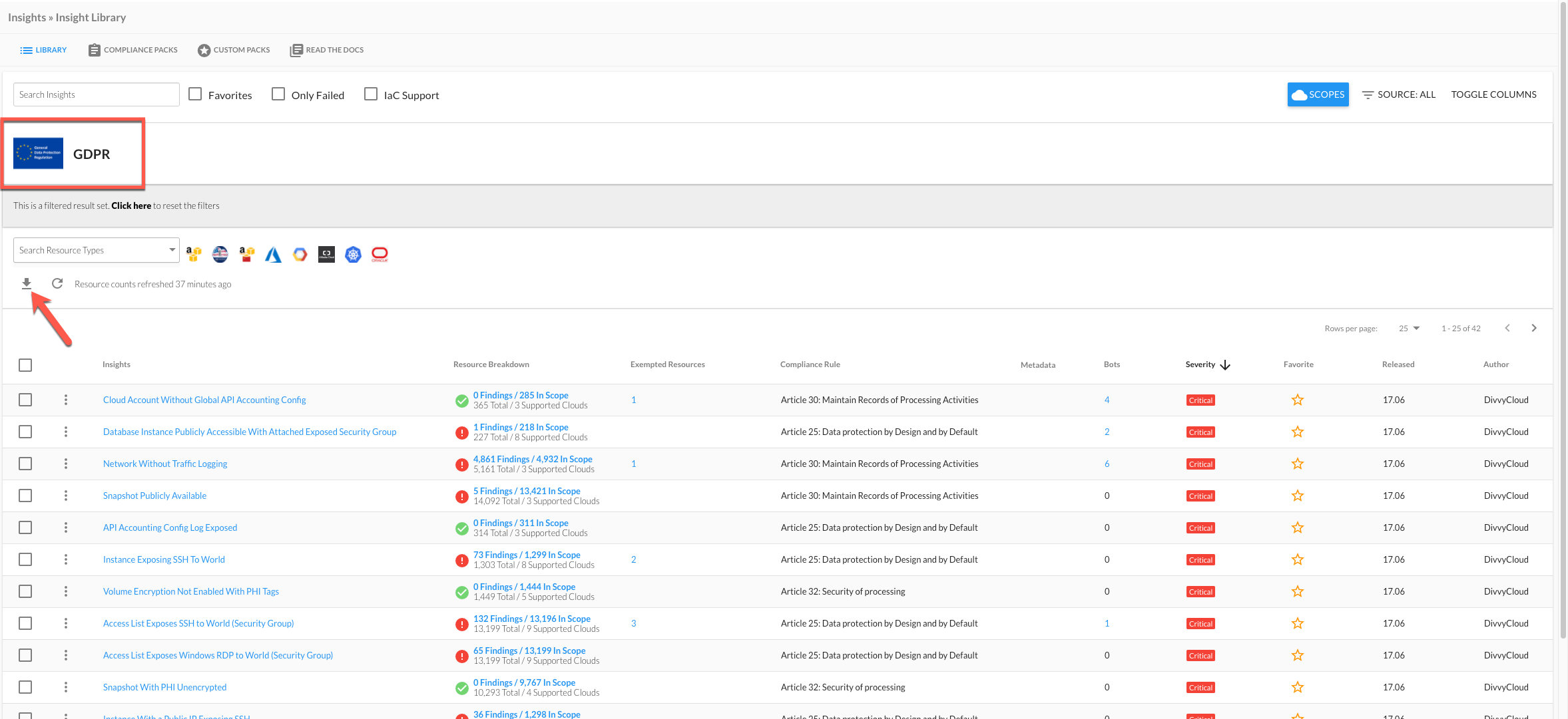 Downloading Insight Results From the Insights Page