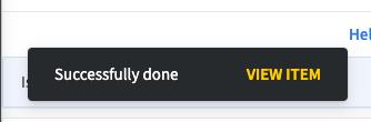 Success message in a snackbar format