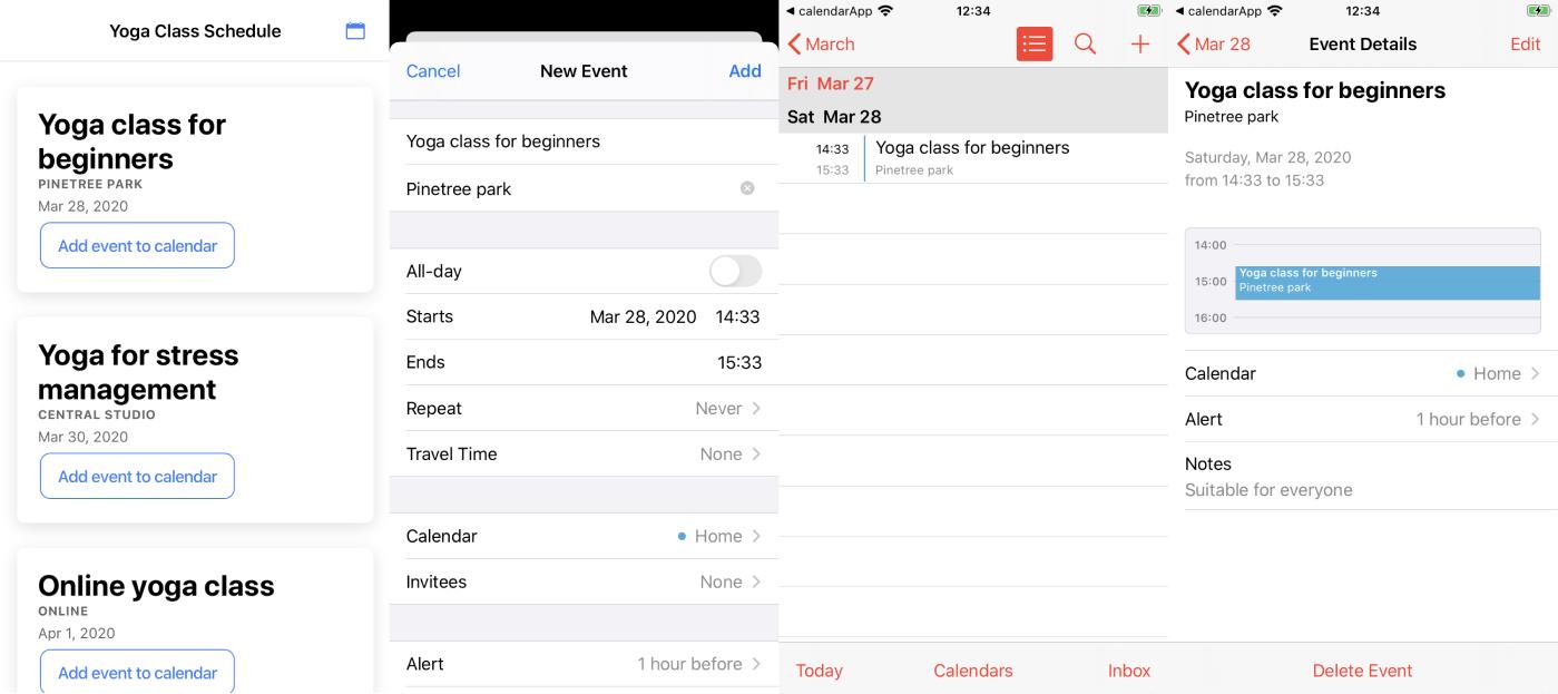 App work on iOS, default Calendar app