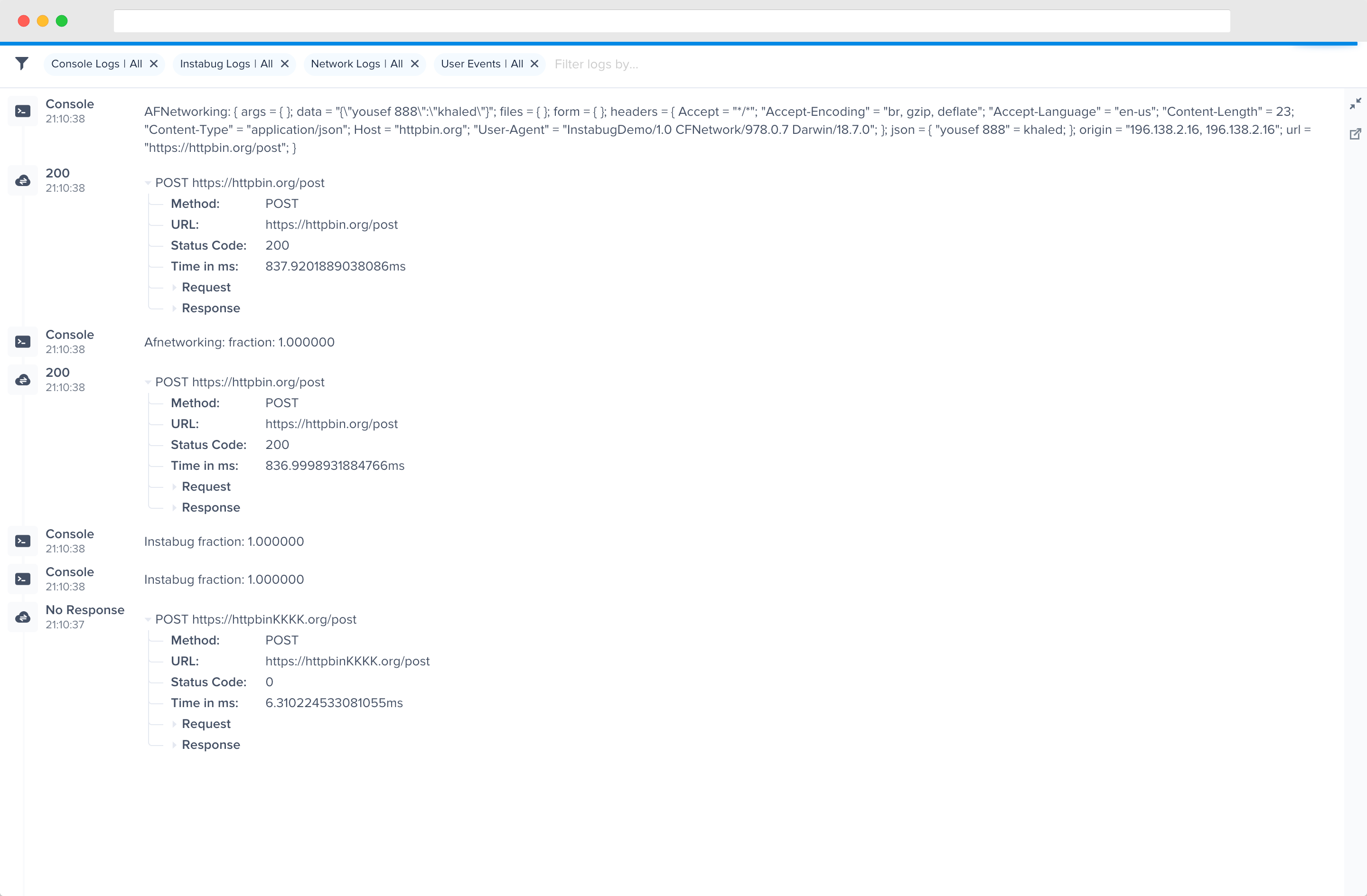 An example of the expanded logs view in your dashboard.