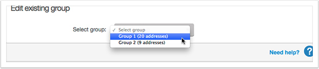 Select the group to edit from the drop down