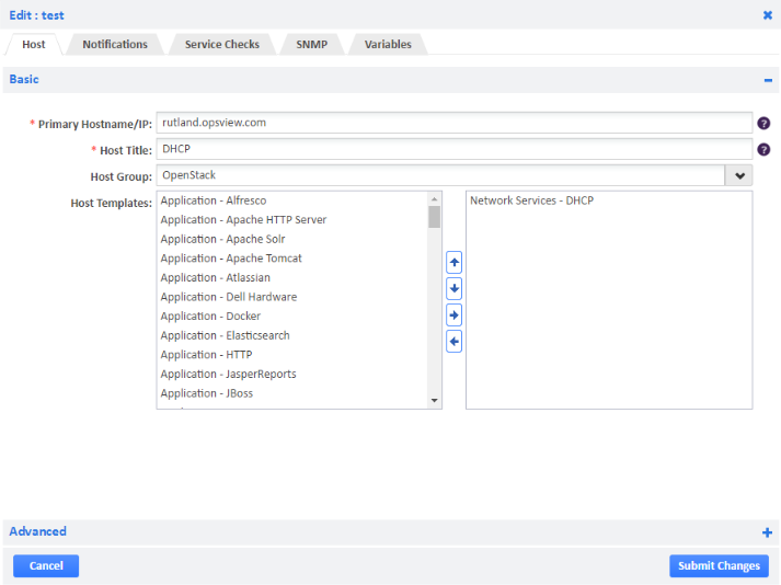 Example of Adding DHCP Host Template