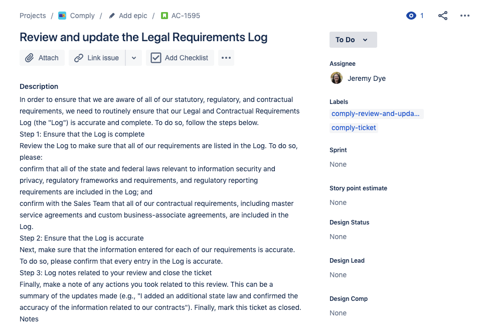 Jira issue created by Comply, automatically assigned.