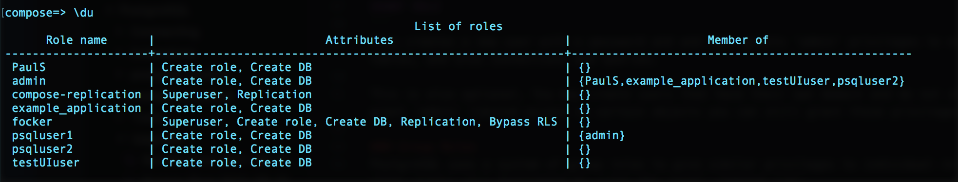 Example output of the `\du` command.