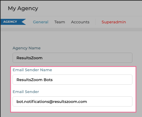 Customize the email address and display-name for all email notifications