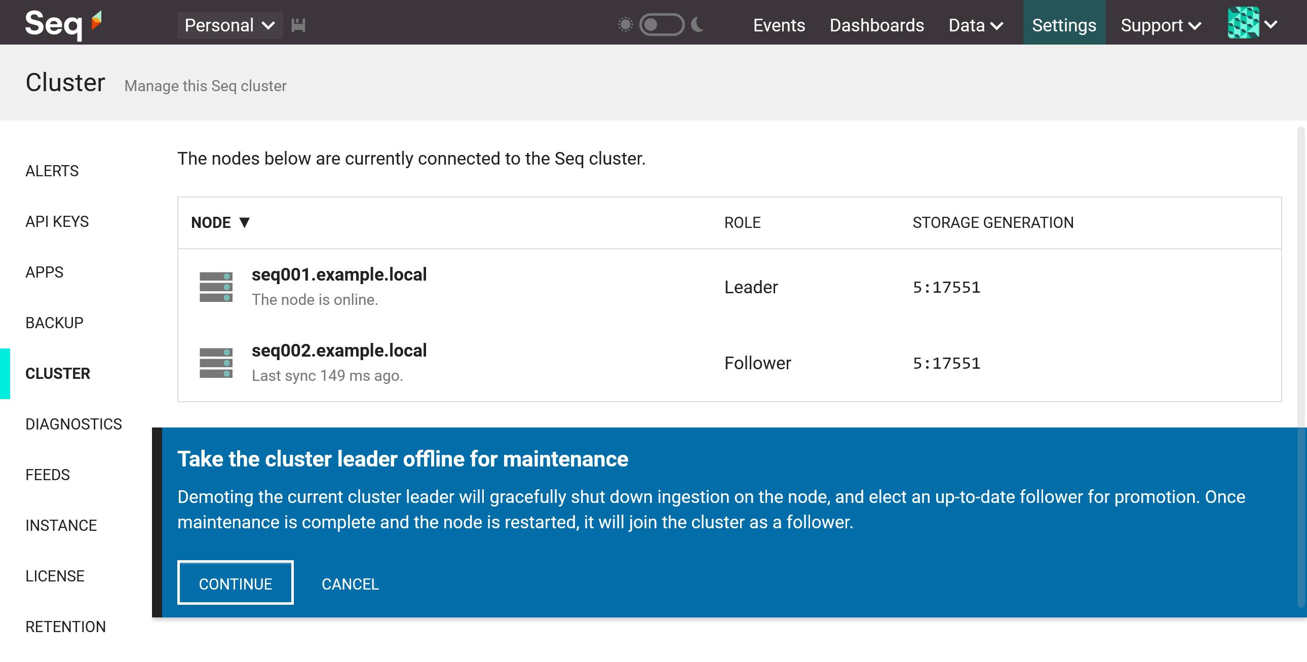 Confirmation when requesting leader node demotion.