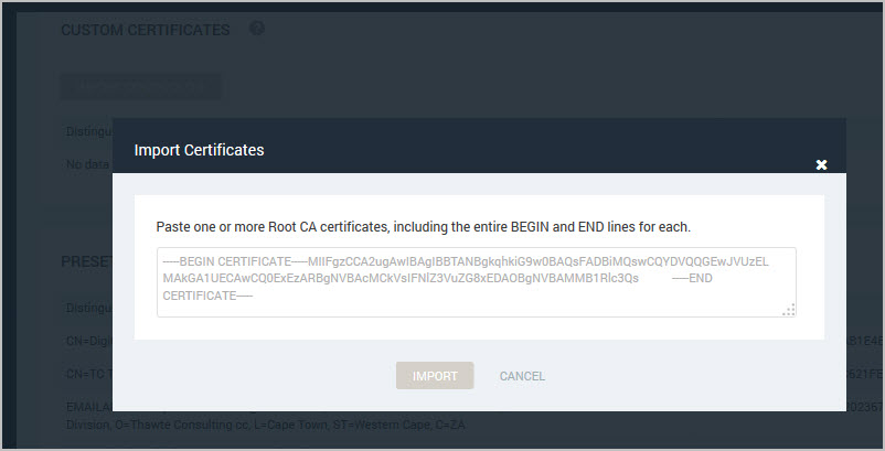 Managing certificates for scanning