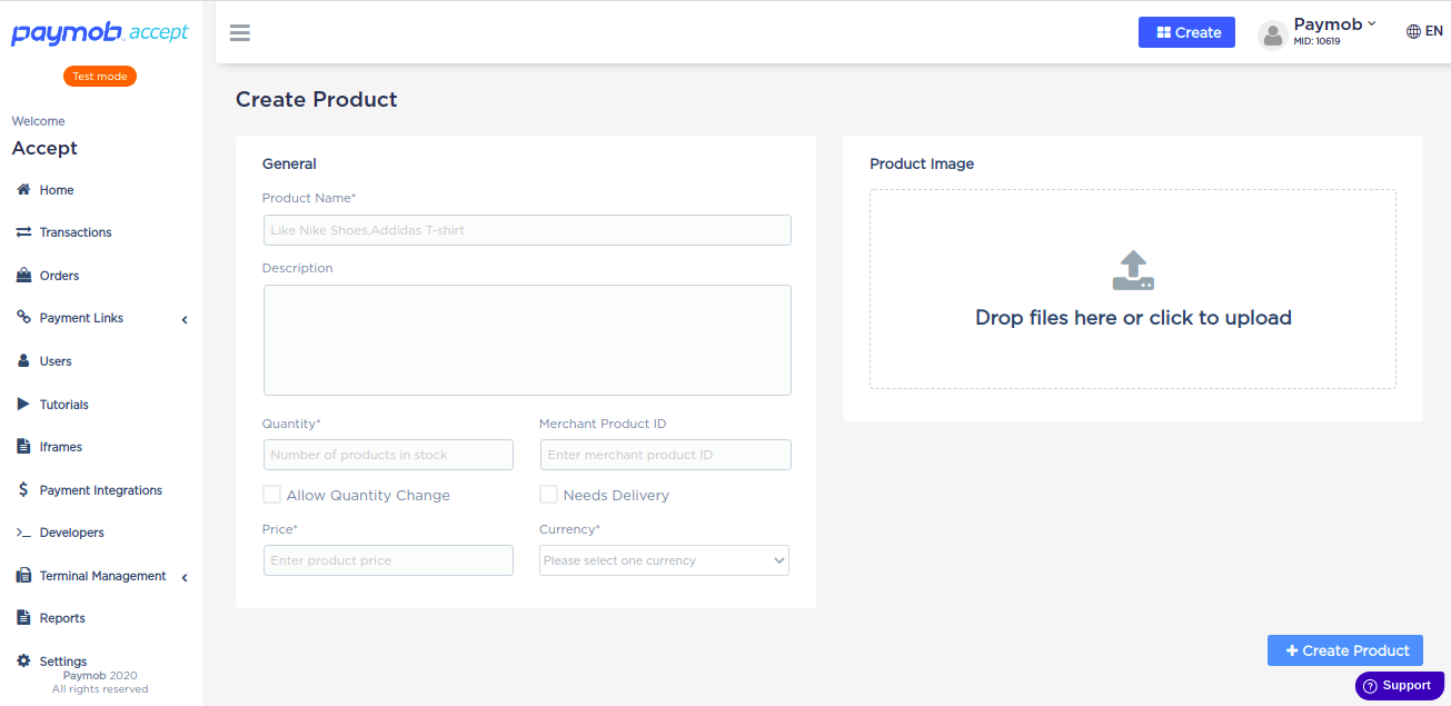 Accept dashboard - Product Creation.