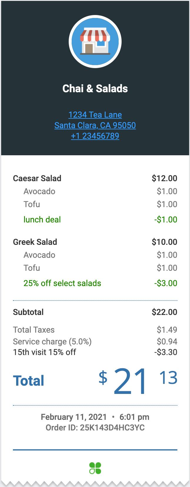Sample order receipt
