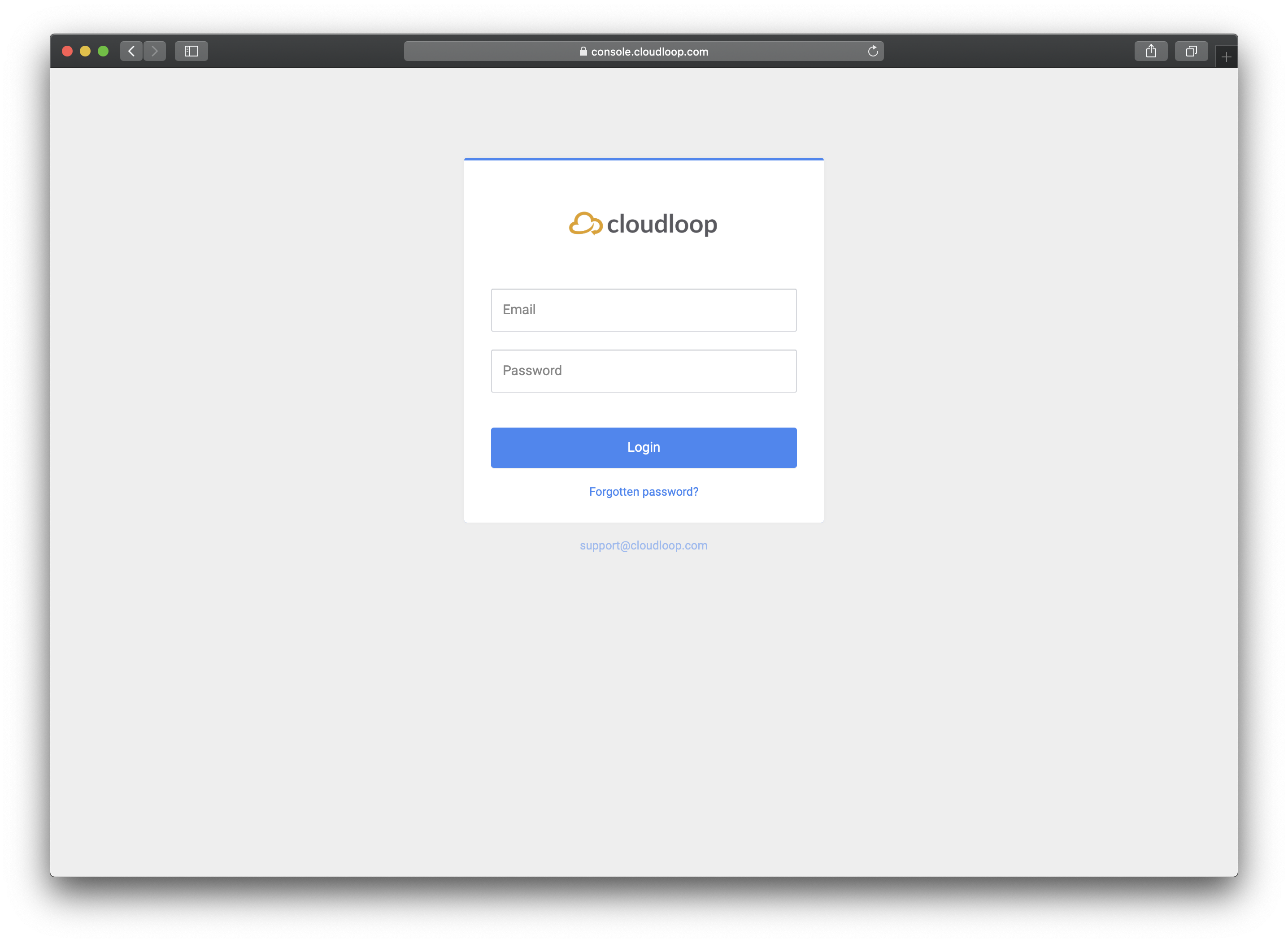 The login page at http://console.cloudloop.com