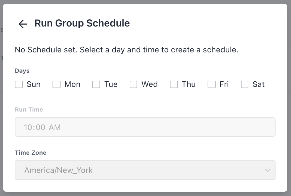 The Run Group Schedule modal.