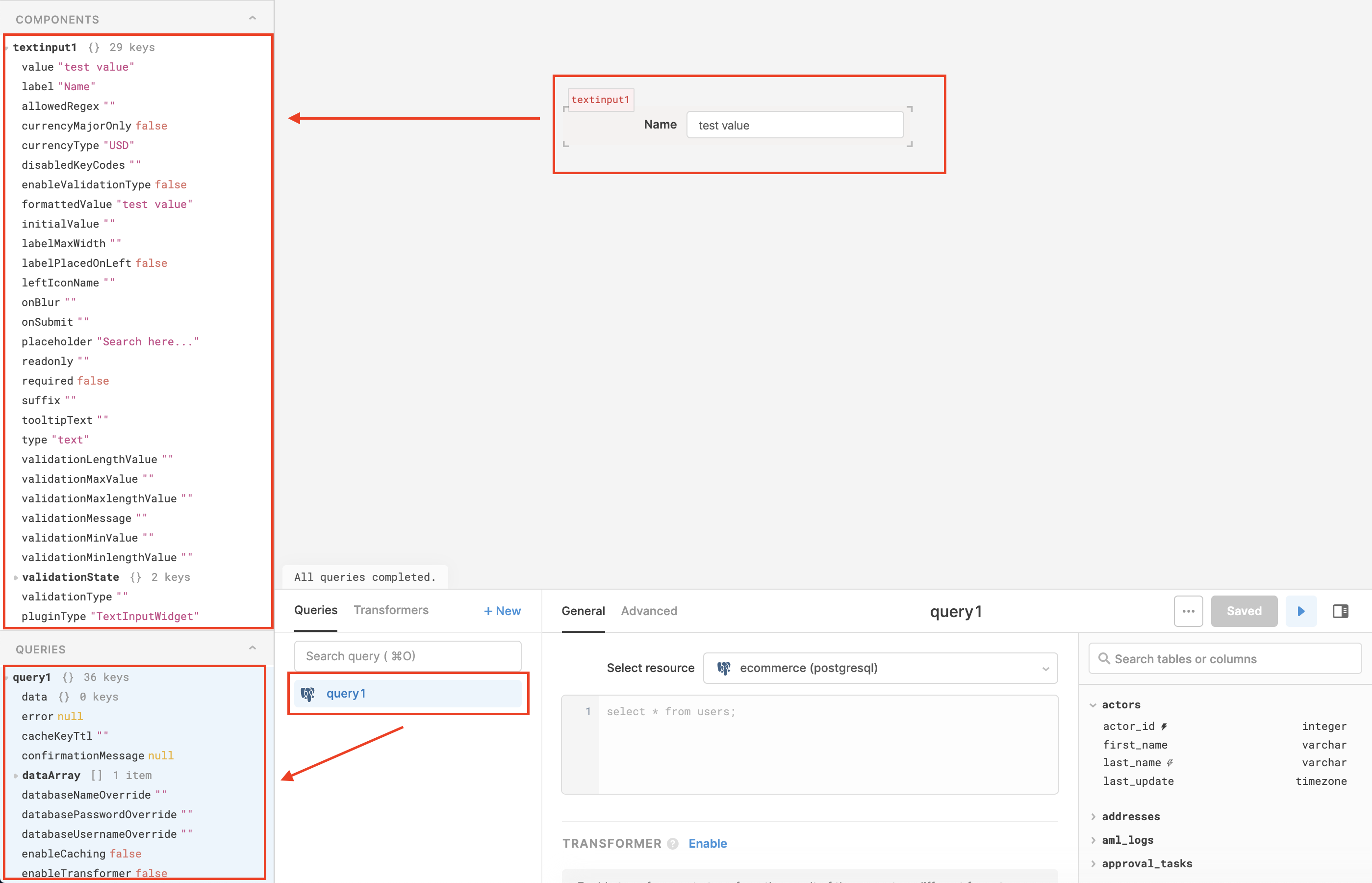 Use the model browser to inspect the Retool variables (components, queries, and globals)
