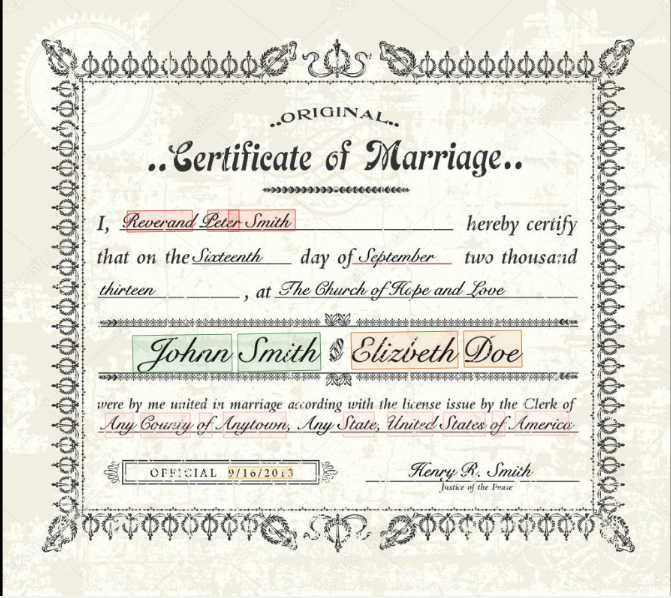 Marriage certificate key data extraction
