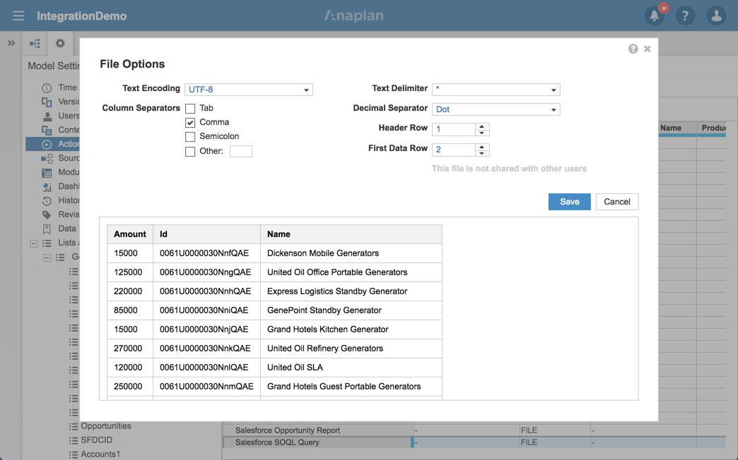 Salesforce to Anaplan via SOQL Query