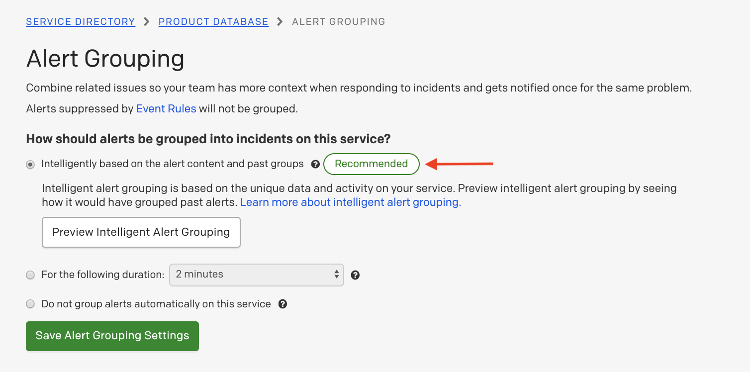(4) Intelligent Alert Grouping option on a recommended service