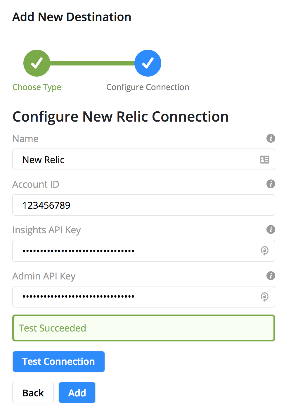 Enter the required fields and click Test Connection, then Add.