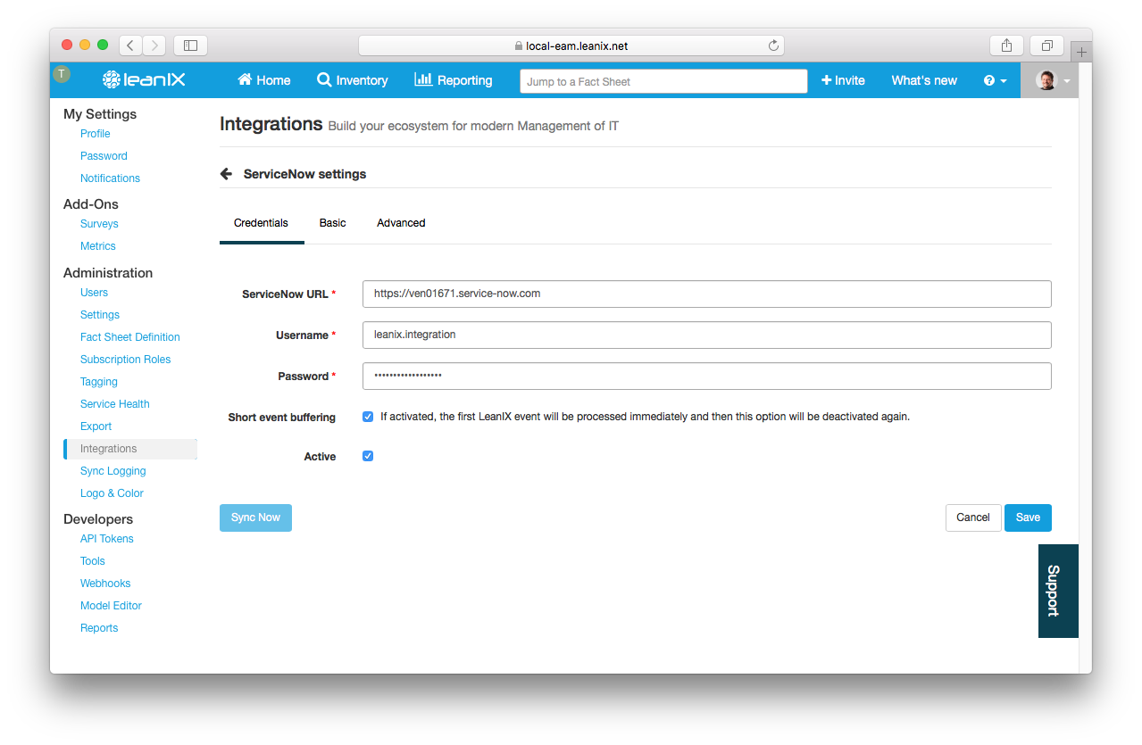 LeanIX ServiceNow integration, Credentials page