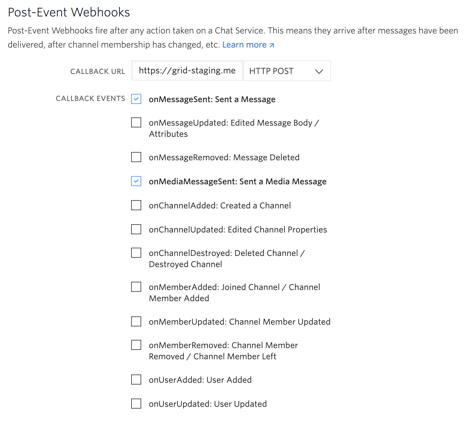 Post-event webhook settings