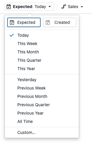 Filter by Expected/Created Date