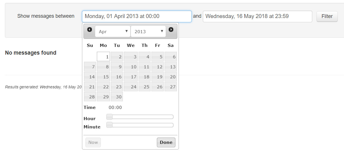 Select message dates and press 'Done'