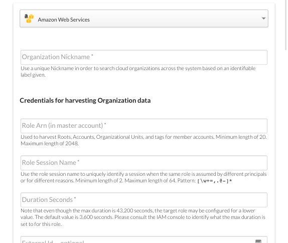 AWS Credential Required for Harvesting Organizational Data