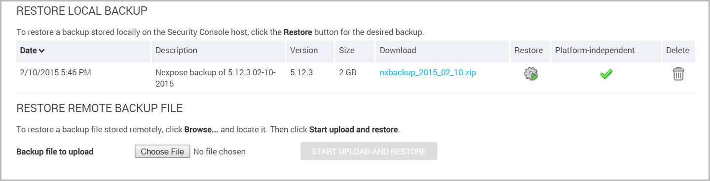 Options for restoring a backup