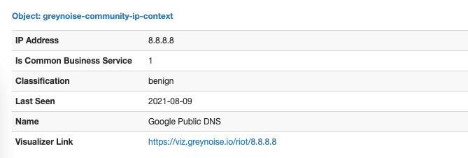 GreyNoise IP Details from Community (Free) API