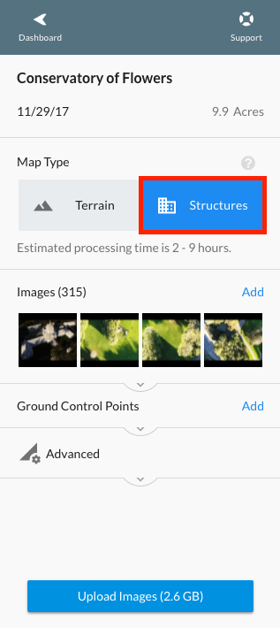 """Structures"" map type option, limited to 500 images."