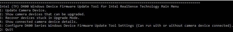 DFU for Windows Tool Options Menu