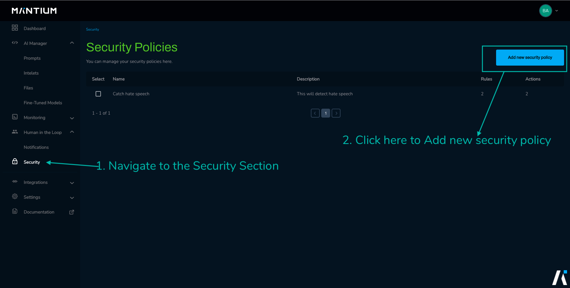 Add a new security policy