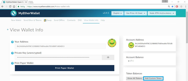 """*Figure 2.5. Click on """"Add Custom Token"""" below Token Balances.*"""