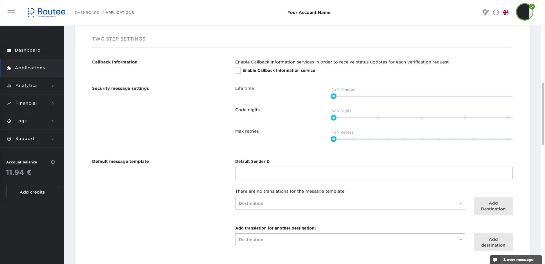 Two step verification application settings